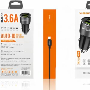 XSSIVE  DUO CAR CHARGER+CABLE FOR IPHONE  3.6A – ZWART