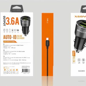 XSSIVE  DUO CAR CHARGER+MICRO CABLE 3.6A – ZWART
